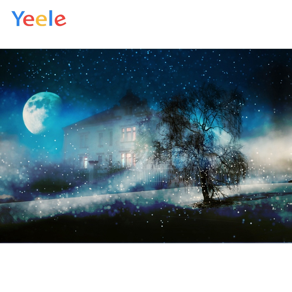Yeele Halloween Party Night Moon Castle Bokeh Light Photography Backdrops Personalized Photographic Backgrounds For Photo Studio in Background from Consumer Electronics