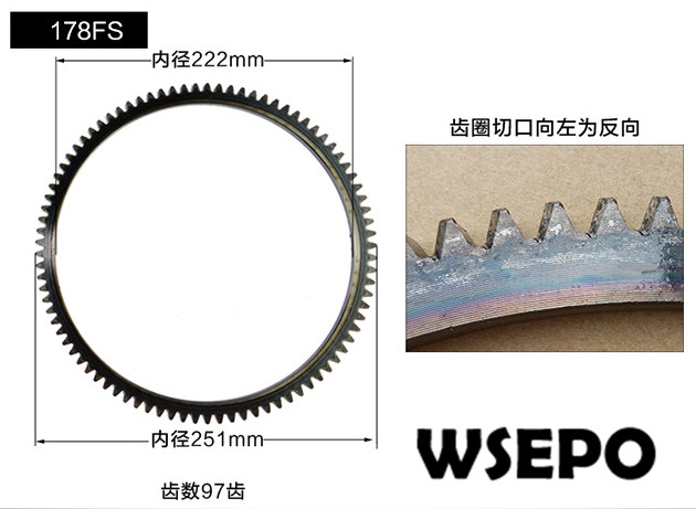Top Quality! Flywheel Gear Wreth Ring for 178FS 6HP 3KW Air Cooled 04 stroke Diesel Engine