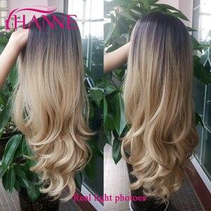 Image 2 - HANNE длинные волнистые синтетические парики Ombre светлый/серый/коричневый/розовый натуральный парик парики из высокотемпературного волокна для черных или белых женщин