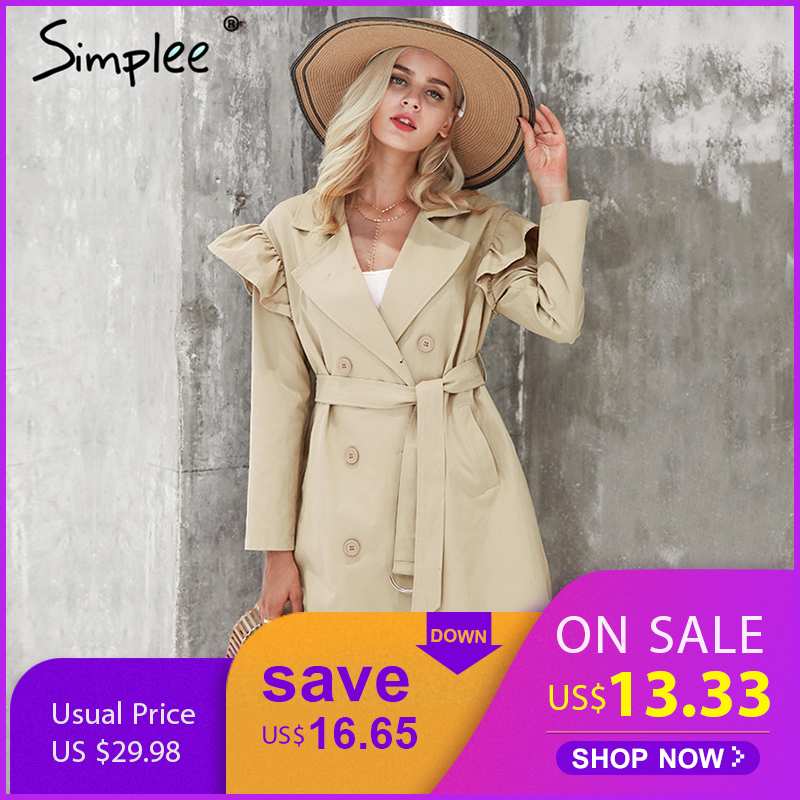 Simplee Ruffle   trench   coat women outerwear & coats Autumn sash pocket streetwear   trench   2017 Casual pink outwear female coat