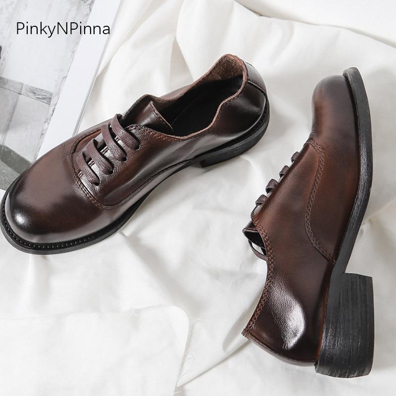 أعلى جودة جلد كامل النساء أكسفورد ذو أربطة حتى الغنم العلوي كعب مربع خمر البريطانية preppy البروغ حذاء أيرلندي نمط مكتب الأحذية-في أحذية نسائية مسطحة من أحذية على  مجموعة 2