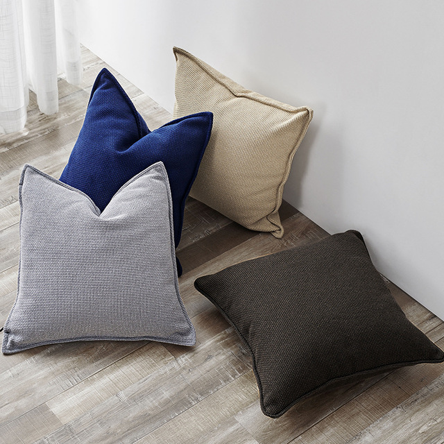 Nordic Style Solid Color Cushion Cover Cotton Geometric Pillowcase 45x45cm Home Car Seat Decoration Sofa Bed Without Filling
