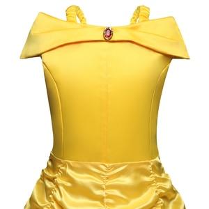 Image 4 - Schoonheid En Het Beest Belle Princess Dress Belle Cosplay Kostuum Kids Jurk Voor Meisjes Party Verjaardag Magische Stok Meisjes Clothings