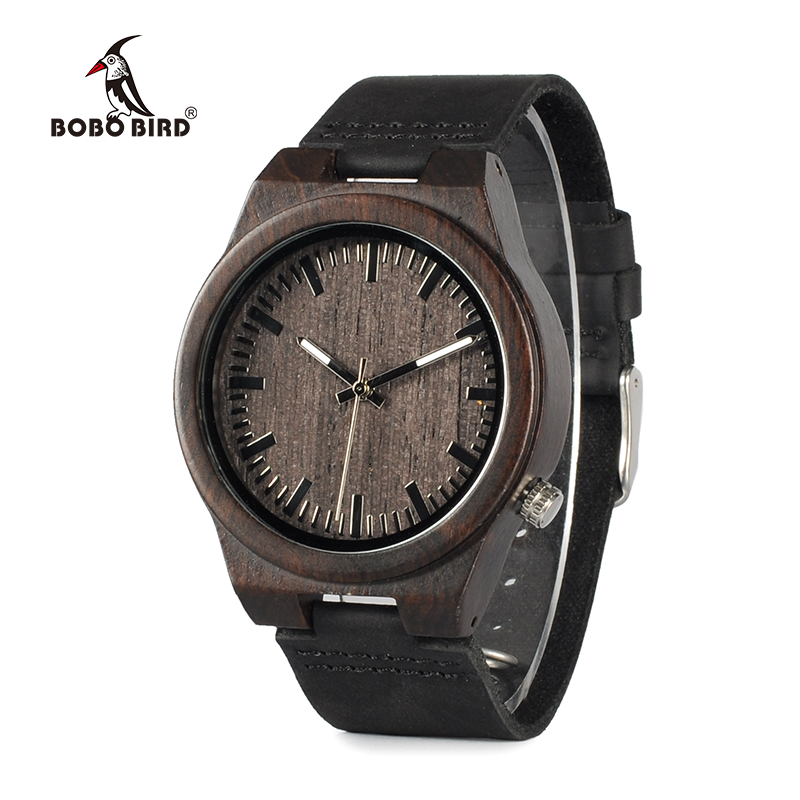 BOBO BIRD WB12 Men s Asymmetric Design Ebony Wooden Watches with Soft Leather Band with Gift