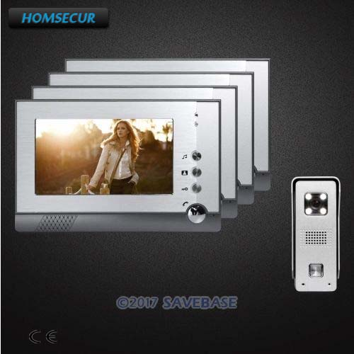 HOMSECUR CMOS Color Silver 7 Video Door Phone Intercom System with One Button Unlock for Home Security