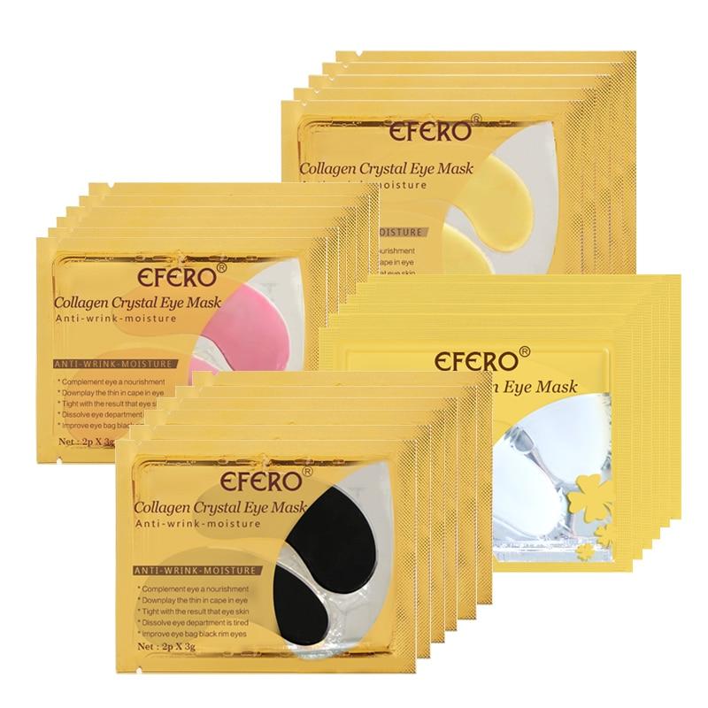 EFERO 5/8pairs Black Collagen Crystal Eye Mask Face Mask Gel Eye Patches For Eye Bags Wrinkle Dark Circles Eye Pads Skin Care