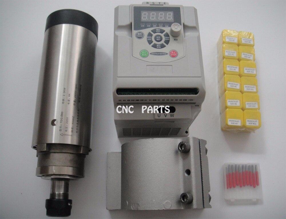 цена  CNC milling spindle ER20 2.2KW air cooling spindle +2.2KW VFD inverter+1 pieces spindle support+ER20 collets+CNC engraving bits  онлайн в 2017 году