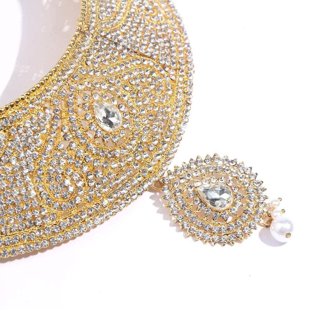 Juste sentir Dubai cristal or couleur bijoux ensembles mariage africain mariée Imitation perle goutte d'eau nouveau collier boucle d'oreille coiffure - 2