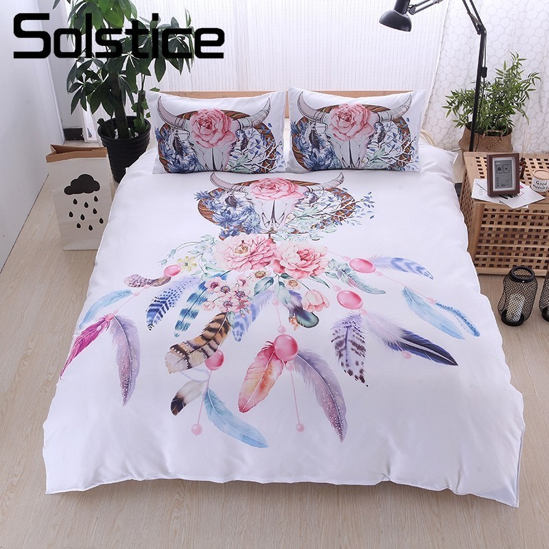 Solstice Home Textile White Linens Native American Bull Horn Floral Duvet Cover Pillowcase Kid Girl Woman Bedding Set King QueenSolstice Home Textile White Linens Native American Bull Horn Floral Duvet Cover Pillowcase Kid Girl Woman Bedding Set King Queen