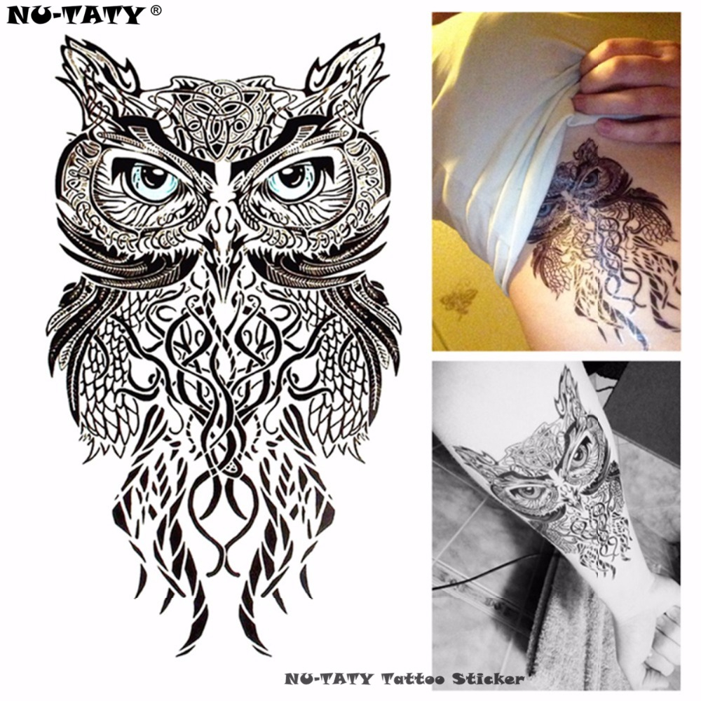 Nu-TATY Wise Owl Tatuaje temporal Body Art Flash Tattoo Stickers 12 * 20cm Etiqueta de la pared del tatuaje falso impermeable