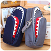 Boys Girls Personality Stationery Creative Shark Large Capacity Canvas School Pencil Case Pencil Bag Pen Case