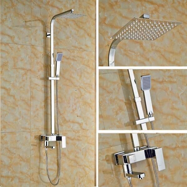 Ensemble de douche mitigeur de salle de bain contemporain avec pomme de douche carrée de 8