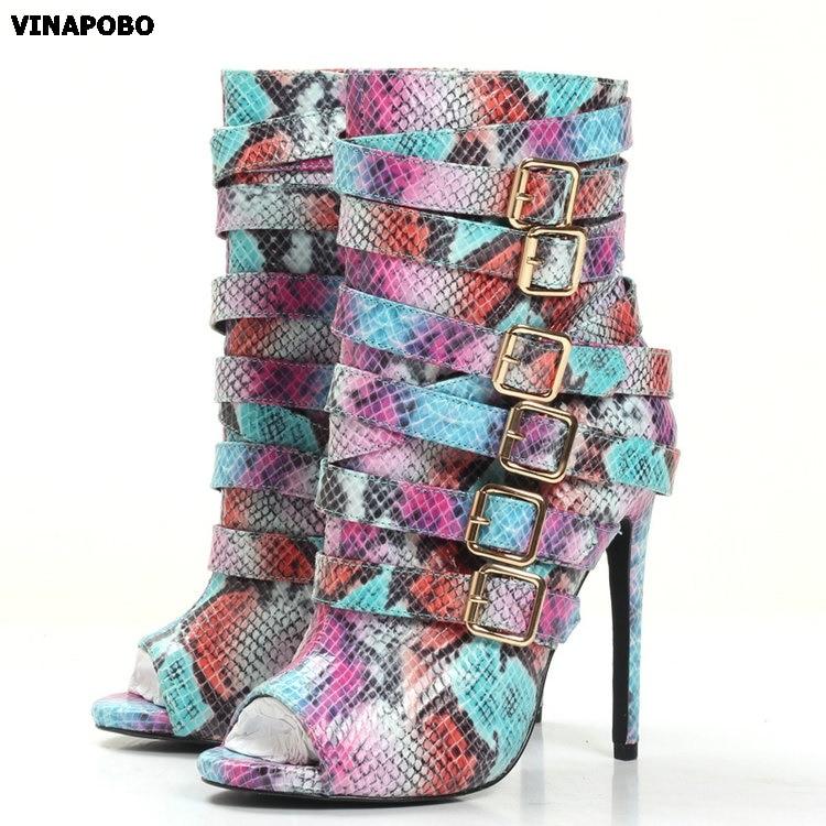 Moda Python wąż skóry kobiet buty z odkrytymi palcami T klamry damskie szpilki wysoki obcas kostki buty wycinanka styl seksowna sukienka buty w Kozaki do kolan od Buty na  Grupa 1