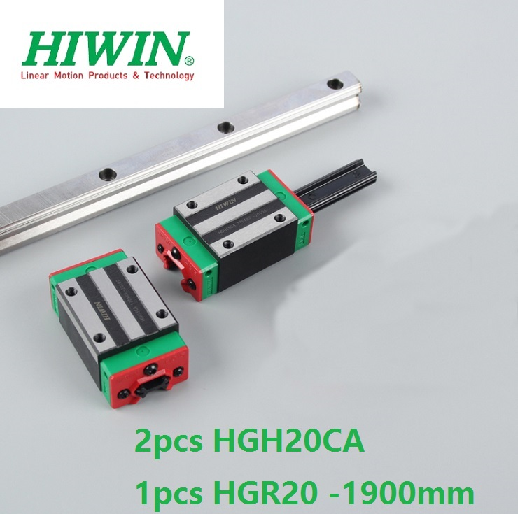 1pcs 100% original Hiwin linear rail guide HGR20 -L 1900mm + 2pcs HGH20CA linear square block for cnc router цена