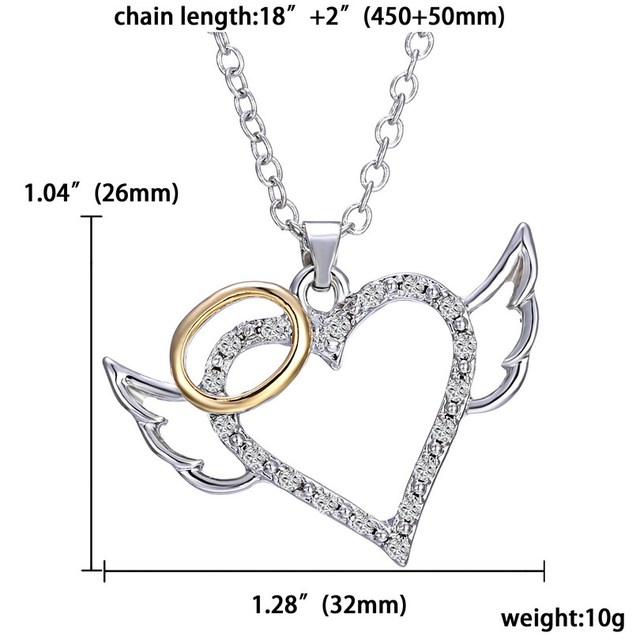 New arrivel Angel Wings Love Heart Pendant Necklaces Fashion Crystal Jewelry for Women Wedding Bridal
