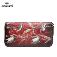 GENMEO Brand New Arrival Genuine Leather Zipper Wallet Women Coin Purse Birds 3D Print and Cow Leather Hand Strap Bolsa Feminina