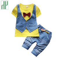 HH Baby Clothing Summer Jeans Short Sleeve Uniform Baby Boy Clothing Set Gentleman Cowboy Cool Kids