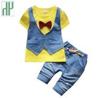 HH Baby Clothing Summer Jeans Short Sleeve Uniform Baby Boy Clothing Set Gentleman Cowboy Cool Kids