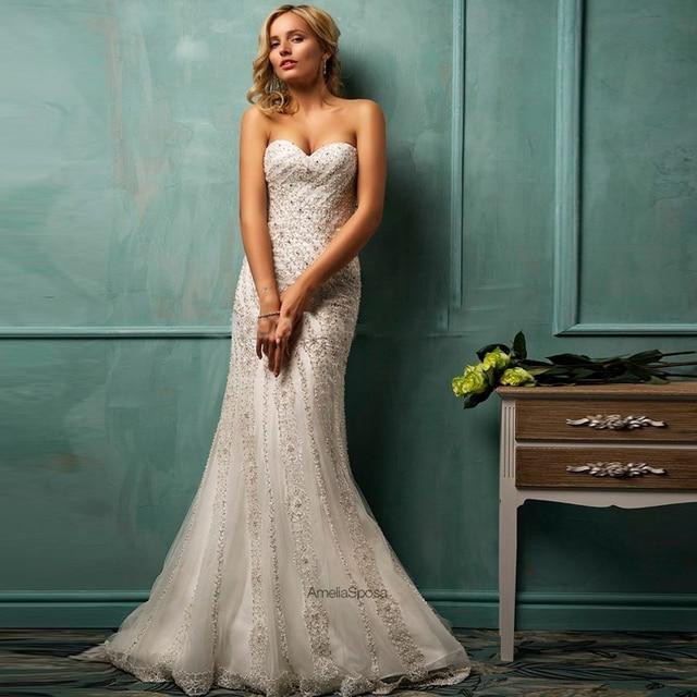 Elegant Vestido de noiva Lace Mermaid Wedding dresses VERNASSA Sweetheart Sleeveless with Court Train Button Crystal