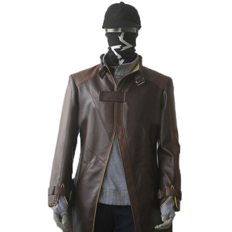 Watch Dogs Aiden Pearce видео игра косплей костюм пальто+ шапка+ маска(не брюки и болеро) все размеры на заказ Новая версия мультфильм