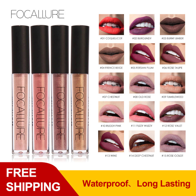 Maquillaje impermeable FOCALLURE mate lápiz labial hidratante suave de larga duración brillo labial cosmético belleza maquillaje