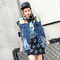 Personality jean vest 2017 women riped chains tassel blue coat short punk rock floral holes pins decoration loose clothing LT398
