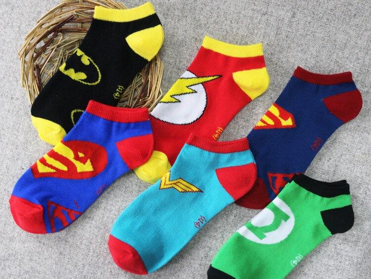 Супермен Зеленый Фонари Косплэй Носки флэш-чудо-женщина Бэтмен носки до лодыжки летние Повседневное спортивные Носки 5 стилей ...