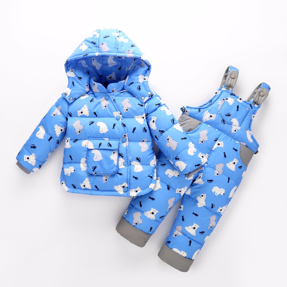Russia baby Girl Ski suit sets winter Children clothing set Boy's Outdoor sport Kids down coats Jackets+trousers -30degree 30# 2016 winter boys ski suit set children s snowsuit for baby girl snow overalls ntural fur down jackets trousers clothing sets