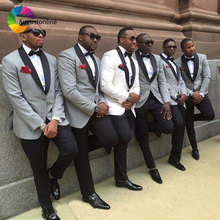 White /Grey Groom Tuxedos Men Suits for Wedding Slim Fit Best Man Blazers Jacket 2Pieces Shawl Lapel Custom Made Suit Pants