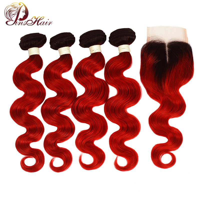 Ombre Brazilian Hair Weave Bundles With Closure 1B/Red 99J Body Wave Bundles With Closure Human Hair Thick Pinshair Nonremy Hair