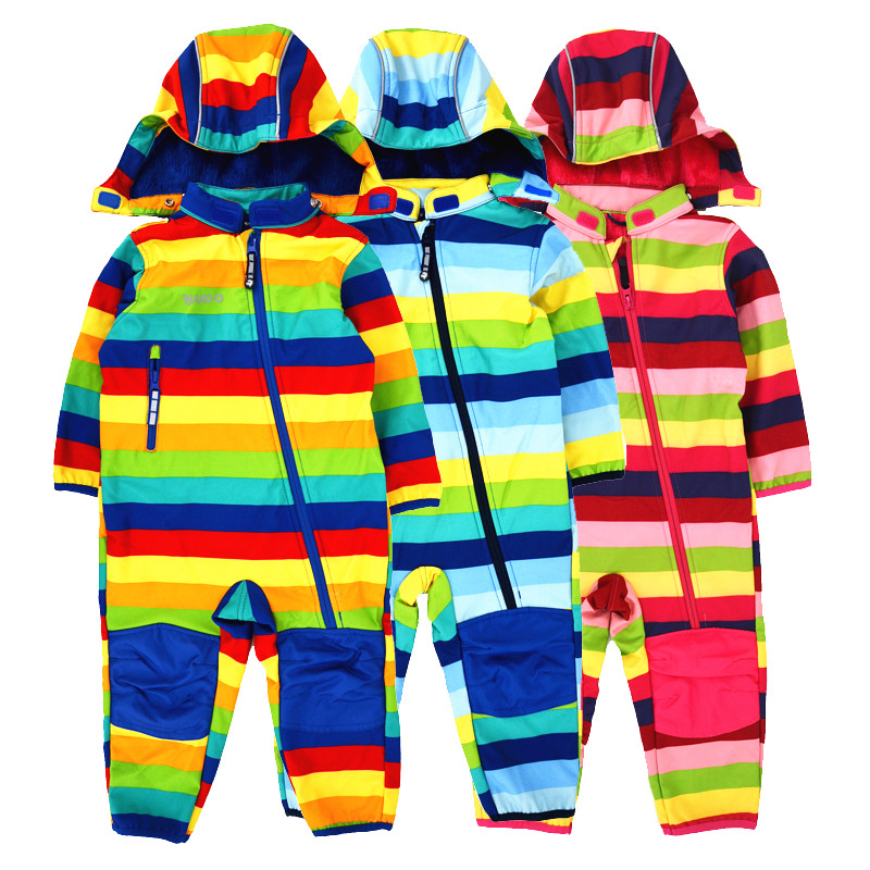 Children's Soft Shell Plus Velvet Integrated Windproof And Rainproof Jumpsuit Children's Waterproof Jumpsuit, Warm Jumpsuit