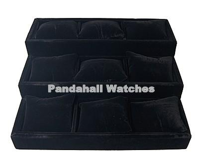 2pc Velvet Pillow Jewelry Bracelet Watch Display Black 270x245x95mm