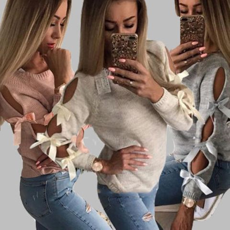 Autumn Top Women Bow Hollow Out Long sleeve pink knit Sweater Pullover Knitting Loose O-Neck Tops Lace Up Bow-Knot Sweaters