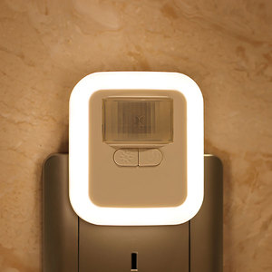 LED Motion Sensor Night Light Plug-in Wall Night Lamp with Brightness Time Adjustable for Living Room Bedroom Stairs(China)