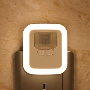LED Motion Sensor Night Light Timing Brightness Adjustable Plug-in Wall Night Lamp for Children Kids Living Room Bedroom Stair(China)