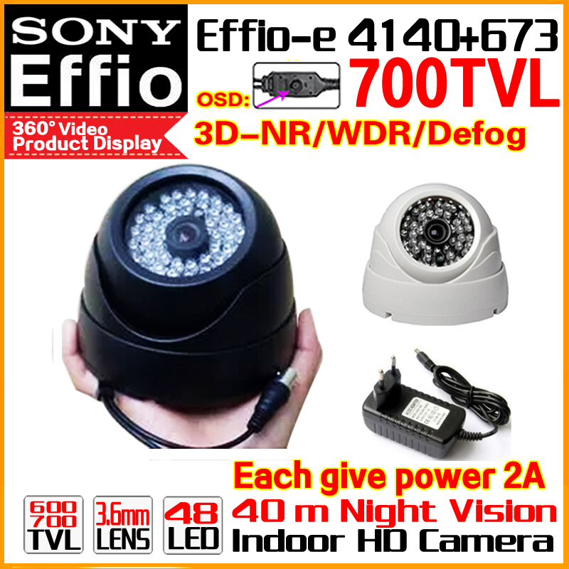High Quality 1/3Sony Effio CCD Real 700TVL Analog 960H Color HD Camera Cctv Surveillance Products Indoor Dome Infrared 48LEDS Os high quality metal indoor dome 1 3sony sensor ccd effio e real 700tv hd cctv camera waterproof infrared ir color home video osd