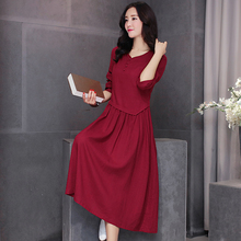 Spring 2016New Fashion Literature and art Loose Big yards Cotton linen Dress Temperament Pure color Sexy Long Sleeve Dress G0052