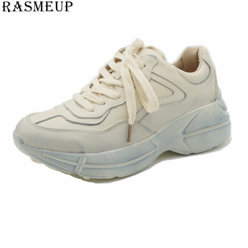 b979134d747b XEK Genuine Leather + Mesh Womens Platform Dad Sneakers 2018 Fashion Buckle  Women Flat Walking Shoes Casual Footwear ZLL61
