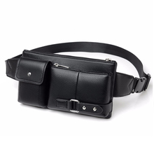 Men Leisure Waist Pack High quality Fanny Pu Leather Bag business Belt capacity bum bag