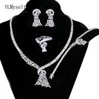 Luxurious wedding jewelry sets white Necklace+Bracelet+earrings+free sizes ring large 4pcs dubai jewellery set