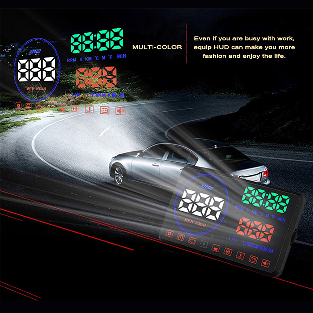 M9 HUD with Anti-slip Pad OBD2 Car Head Up Display Digital car speedometer 5.5 Screen Fuel Consumption Car styling x5 obd2 hud heads up display automotive trip computer speed projector speed temperature fuel consumption hud head up display
