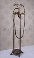 Free shipping antiquing full brass Freestanding fucet bathtub floor stand shower faucet SOJ 001 759