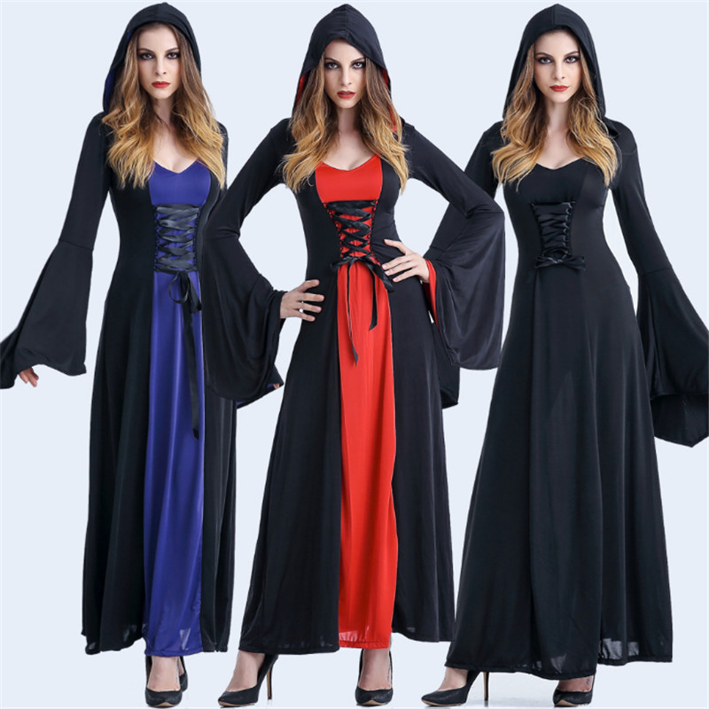 high quality Adult Hooded witch Costume Halloween game play Party Evil Witch cosplay Dress European and American court clothes