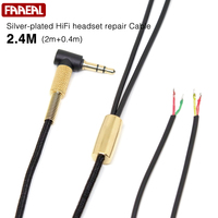 FAAEAL 2 4M Silver Plated HiFi Headset Repair Cable High Quality DIY Weave Headphone Cable Earphone