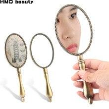 Retro padrão espelho de maquiagem cílios extensão ferramenta enxertia cílios portátil rendas mão espelho aplicando cílios maquiagem ferramentas