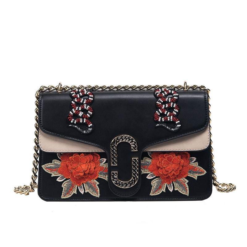 ФОТО SKLEAF vintage panelled embroidery flowers and animal lady shoulder bag fashion chain pu leather women messenger bags