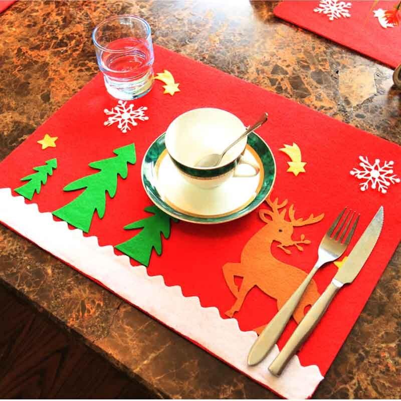 2016 Christmas Decoration Santa 39 S Little Helper Table Mats Coasters Knife And Fork Mat Restaurant
