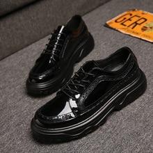 Nova moda masculino festa nightclub wear preto couro patente sapatos de salto plataforma escultura brogue oxfords sapato zapatos hombre