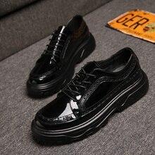 새로운 패션 남자 파티 나이트 클럽 착용 블랙 특허 가죽 수소 신발 플랫폼 조각 brogue oxfords 신발 zapatos hombre