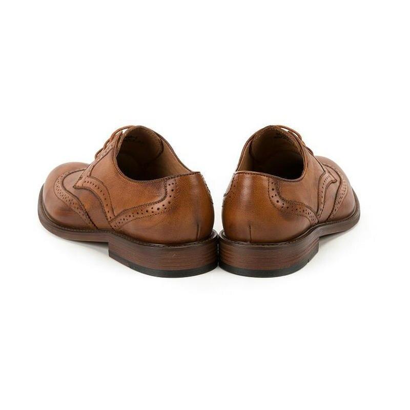 KRUSDAN marka oryginalne skórzane buty męskie cielca styl skóry wołowej mężczyzn buty w stylu casual zasznurować Oxford buty męskie wypoczynek skórzane buty w Oxfordy od Buty na  Grupa 3
